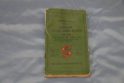 Vintage SINGER Electric SEWING MACHINE Model No. 66-18 Instructions Manual