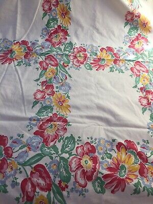 Large Vintage 40s Floral Print Tablecloth Pink Blue Yellow Green  61 X 54