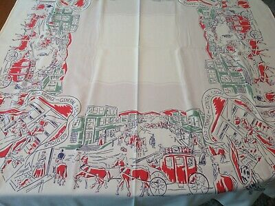 """Vintage Simtex Western Town Tablecloth Old West Gold Town 44 1/2"""" X 51 1/2"""""""