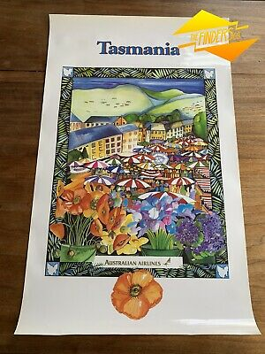 c.1980s AUSTRALIAN AIRLINES ''TASMANIA' CHRISTOPHER VINE ILLUSTRATED POSTER