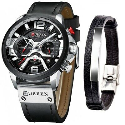 Set Of Two Items: CURREN Casual Chronograph Watches for Men And Bracelet Leather
