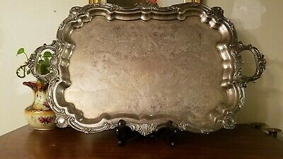 HUGE Vintage Towle Silverplate Footed Butler Service Tray Serving Platter 29x18""