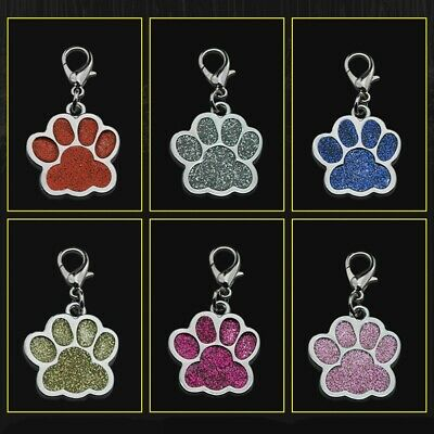 Personalized Dog Tags Engraved  Pet ID Name Collar Tag Bone Paw Glitter New