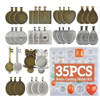 Resin Casting Molds Silicone DIY Mold Jewelry Pendant Mould Making Craft Set Kit