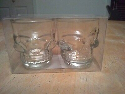 New Set Of 2 Skull Shot Glass Clear Head Vodka Whiskey Party Halloween Glasses
