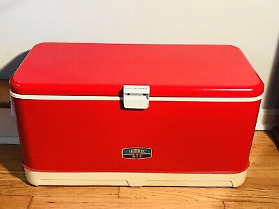 Vintage THERMOS Cooler Large 28 In. Outdoor Camping Red Metal W/ Plastic Handles