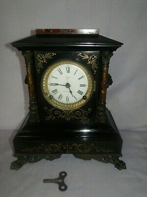 Antique Ansonia Porcelain Face Black Iron Clock Claw Feet Lion Heads
