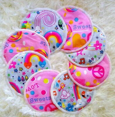 4 Sets/ 8 Reusable Nursing Breast Pads Washable bra inserts Cloth Baby Mums Pink