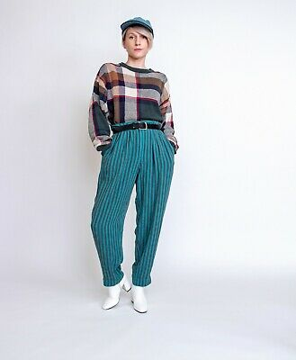 Vintage 80s green linen striped high waist crop ankle trouser pants 28 inch