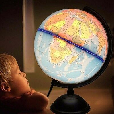 World Earth Globe Map Geography Education Gift Rotating Stand LED Desk Lamp Deco