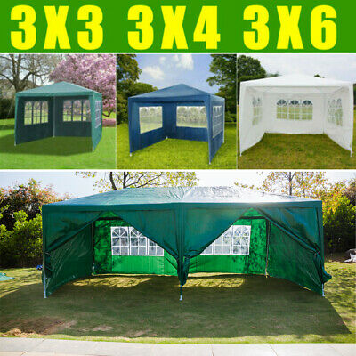 3X6M 3X4M 3X3M Garden Waterproof FULLY Gazebo Marquee Party Tent W/4 Side Walls