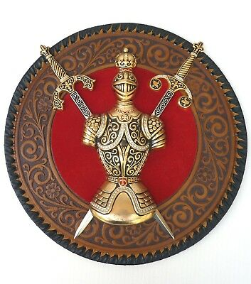 Vtg Knight Armour PU Leather Plaque Wall Mount Swords Fantasy Decor Gold Militar