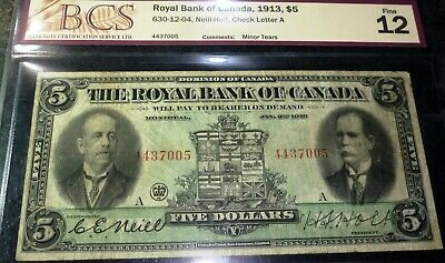 1913 Royal Bank Of Canada $5 - Early Chartered Banknote