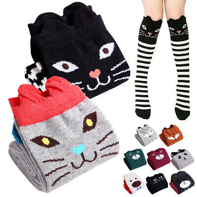6/8/10 pairs Knee High Socks Girls Cat Bear Cartoon Long Stockings Cute Design