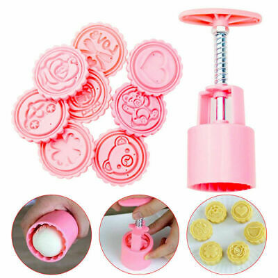 8 Style Stamps Moon Cake Mold Set DIY Cookie Pastry Hand Press Mould Bake Tool