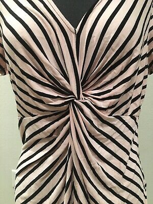 Motherhood Maternity Womens Blouse Sz M Pink & Black Striped Top
