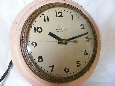 super vintage HAMMOND SYNCHRONOUS pink case electric wall clock-untested