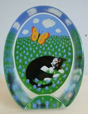 IITTALA Finland art glass PAPER WEIGHT Ornament BLACK CAT Marti Lehto signed
