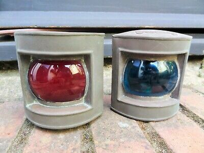 Vintage Antique Red & Blue Starboard Nautical Ship Lamp Lanterns Copper Electric