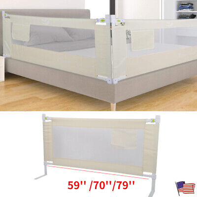 Folding Toddler Safety Bed Rail Baby's Bed Guardrail Fence Lockable Buckle USA