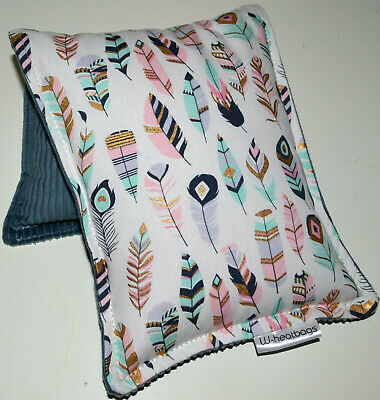 Wheat Bag / Heat Pack. FEATHER - PASTEL /GREY.  38 x 17cms.  FREE Express post.