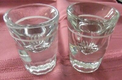 Vintage Heavy Clear Glass Shot Glasses  With Pour Line Two Sizes Lot of 2