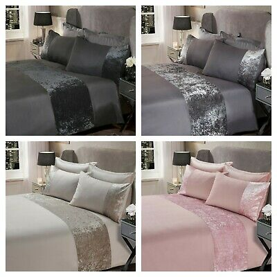 Luxury Crushed Velvet Panel Duvet Cover with Pillow Case Bedding Set Silver Grey