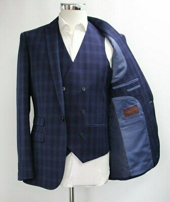 Men's Harry Brown Checked Navy Blue Blazer & Waistcoat Set (40R).. Sample 6224
