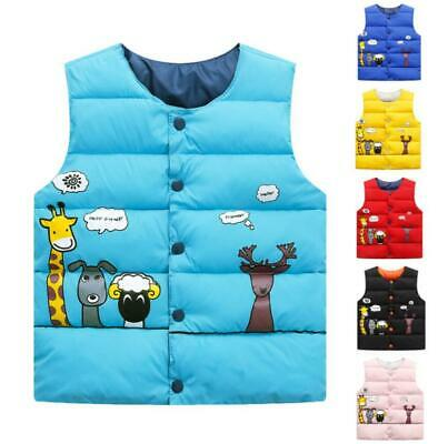 Kids Boys Girls Body Warmer Gilet Waistcoat Padded Vest Jacket Coat Reversible