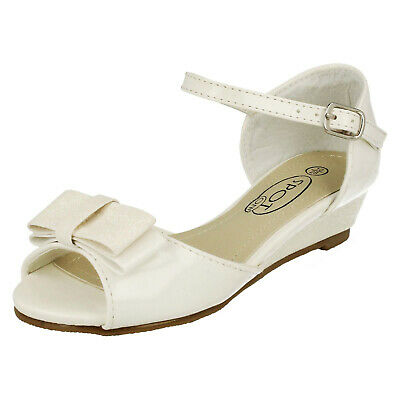 Girls White Open-Toe Party Shoes Pretty Wedge Childrens Sandals Kids Sizes 10-2