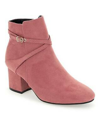 Ladies Pink Extra Wide Fit Eee Ankle Boots Low-Heel Zip Casual Shoes Sizes 4-9