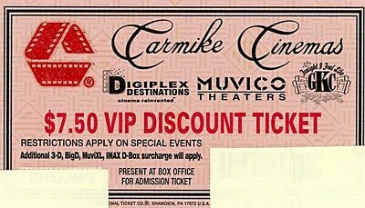 Amc - Carmike Cinemas - Muvico Theaters Vip Discount Ticket