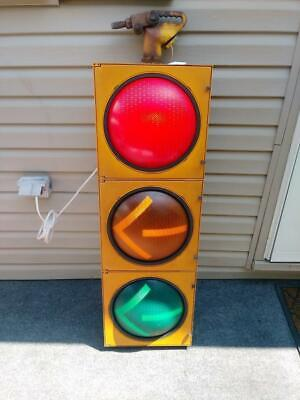 Retired Traffic Signal - Traffic Light W/ Hanger -Arrows- Wired And Ready To Go!