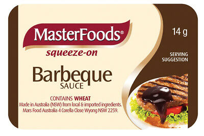 Masterfoods Bbq Sauce Portion Control X 100 (14 Grams) Squeeze Pc - Free Post