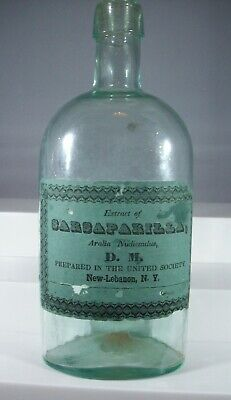 Very Early Large Bottle, Pontil, Label from Shaker Society, New Lebanon, NY
