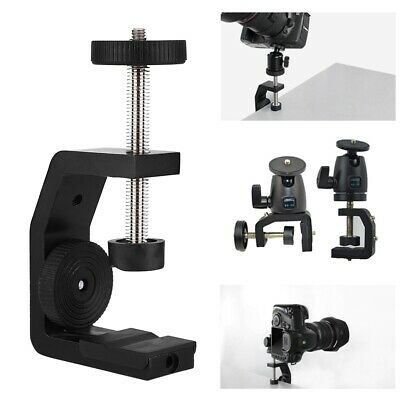 Aluminum C-Type 1/4 Inch Desktop Mount Clamp Stand for Camera Tripod Ball Head
