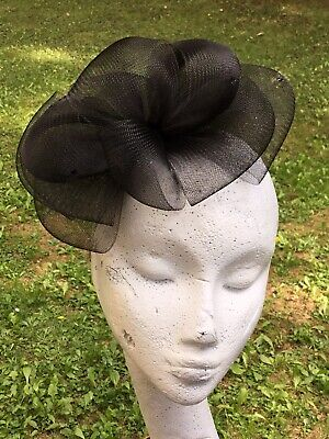 Black Multi-Bow Sequinned Fascinator - party, evening, funeral, formal event