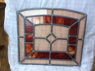 Original Stained Glass Window In Great Condition In Red, Amber & Yellow Colours