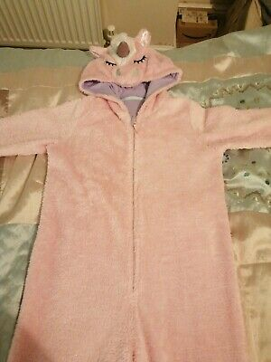 Girl Pink Fleecey Unicorn All In One Pyjama / Pj Age 11-12 From M&S