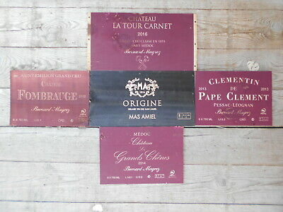 5 estampes bois façades de caisses vin Grands Crûs  Wine box panels side ends