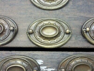 "ONE Vtg Ornate HEPPLEWHITE Beaded BRASS Pull Handle Drawer Dresser 2 1/2"" CC"