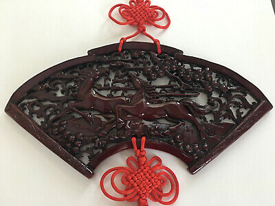 Chinese Feng Shui Red Resin Galloping Horses Good Luck Wall Hanging Chinese Knot