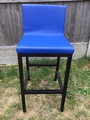 Industrial Look Bar Stools Modern Seating Blue Leather Look Stool