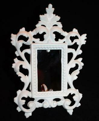 Vintage White Cast Iron Ornate  Easel Picture Frame Shabby Chic French Country