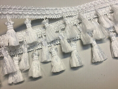 Fringe Tassel Trim, Bobble Ribbon, Tape with Tassels for curtains craft - WHITE