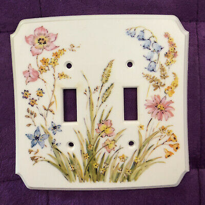 Vintage Dura Plastic 2-Gang Dual Toggle Cover Plate Pastel Floral American Tack