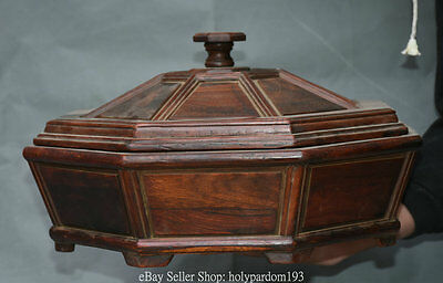 "14.4"" Old Chinese Huanghuali Wood Hand Carving Pattern Storage Jewel Jewelry Box"