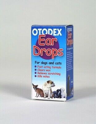 2 Pack Otodex Ear Drops for wax & infection for Cats, Dogs & Puppies x 2