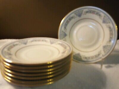 "Set Of 8 - Oxford Bone China (Lenox USA) ""FONTAINE PATTERN""  5"" Saucers Used"