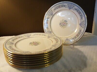 "Set Of 8 - Oxford Bone China (Lenox USA) 8"" ""FONTAINE PATTERN"" Salad Plates Used"